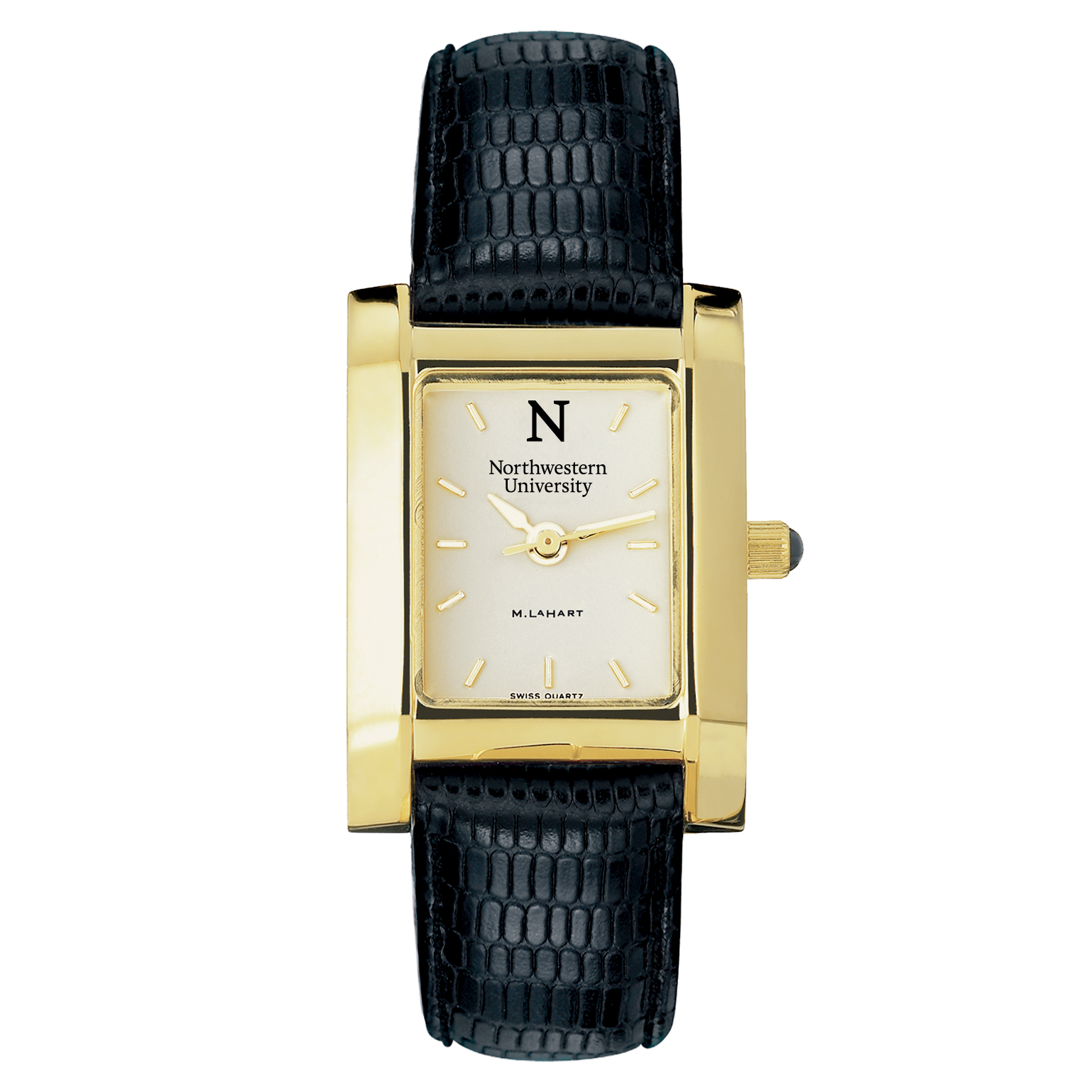 Northwestern Women's Gold Quad Watch with Leather Strap - Image 2