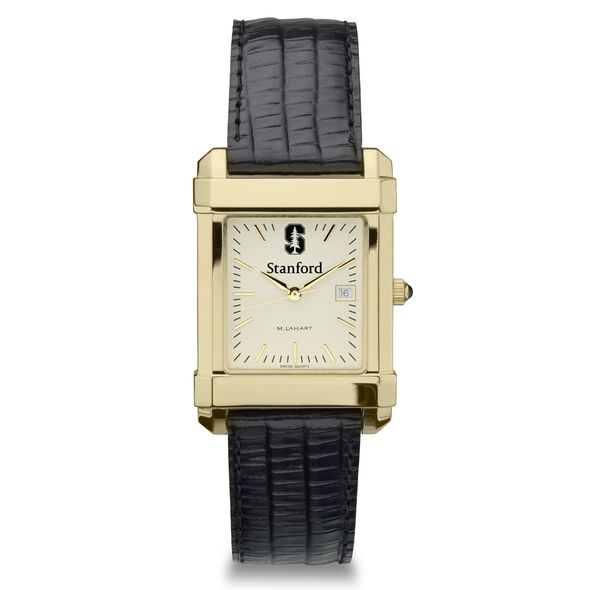 Stanford Men's Gold Quad Watch with Leather Strap - Image 2
