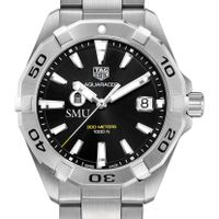 Southern Methodist University Men's TAG Heuer Steel Aquaracer with Black Dial