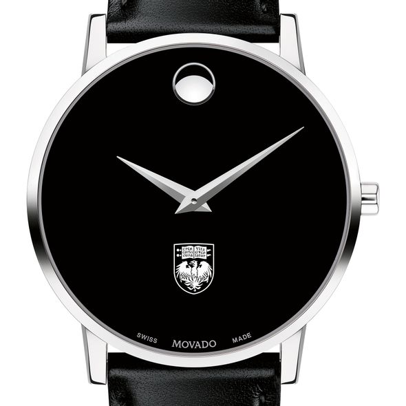 University of Chicago Men's Movado Museum with Leather Strap