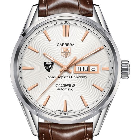 Johns Hopkins University Men's TAG Heuer Day/Date Carrera with Silver Dial & Strap - Image 1