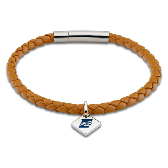 Emory Leather Bracelet with Sterling Silver Tag - Saddle