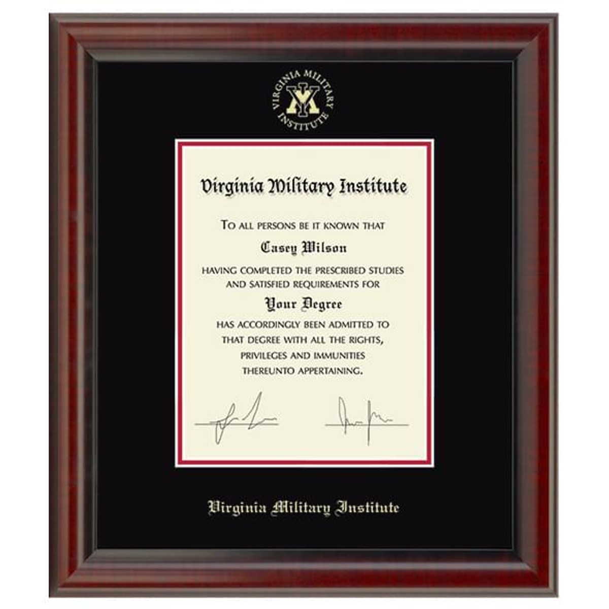 Official Virginia Military Institute Diploma Frame The