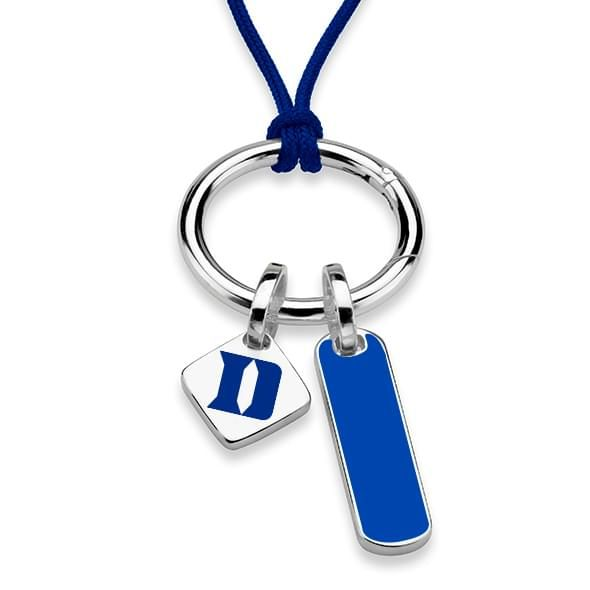 Duke University Silk Necklace with Enamel Charm & Sterling Silver Tag