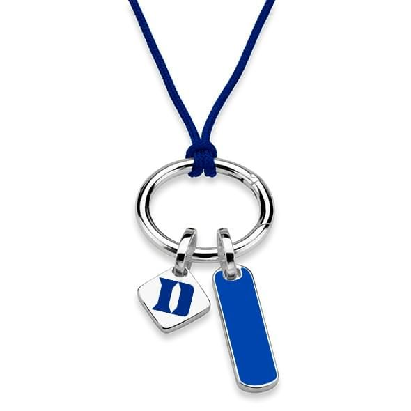 Duke University Silk Necklace with Enamel Charm & Sterling Silver Tag - Image 2
