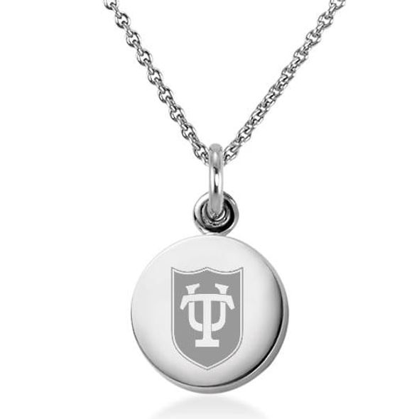 Tulane University Necklace with Charm in Sterling Silver