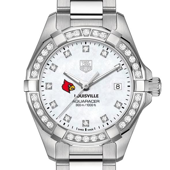 University of Louisville W's TAG Heuer Steel Aquaracer with MOP Dia Dial & Bezel