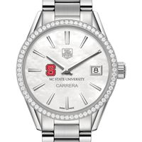 NC State Women's TAG Heuer Steel Carrera with MOP Dial & Diamond Bezel