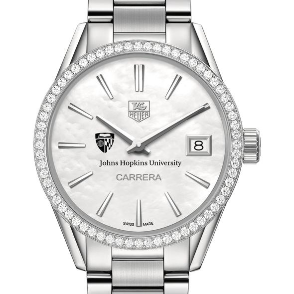 Johns Hopkins University Women's TAG Heuer Steel Carrera with MOP Dial & Diamond Bezel - Image 1