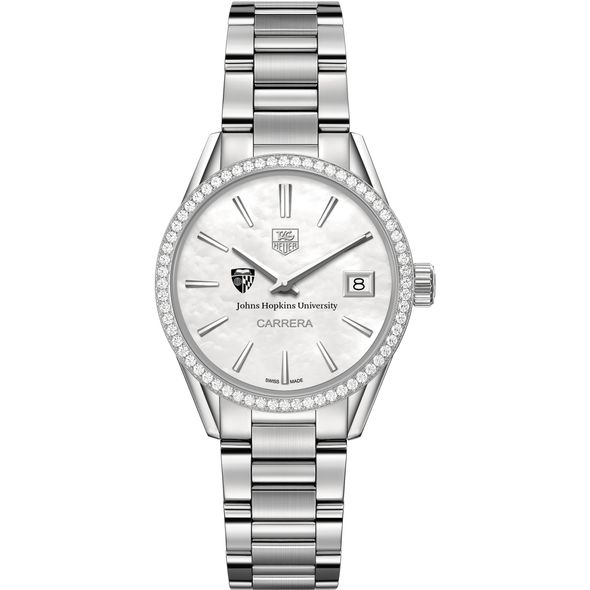 Johns Hopkins University Women's TAG Heuer Steel Carrera with MOP Dial & Diamond Bezel - Image 2