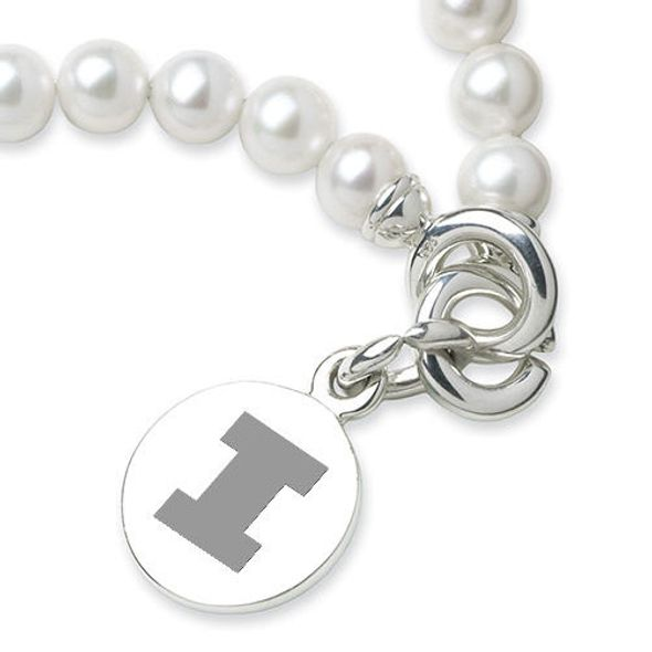 University of Illinois Pearl Bracelet with Sterling Silver Charm - Image 2