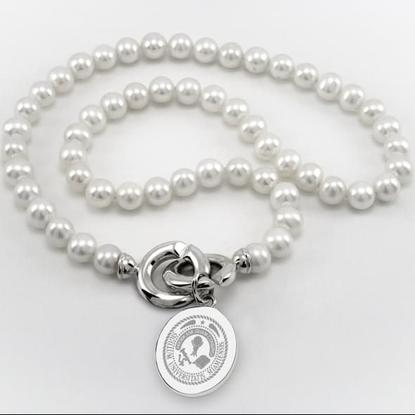Miami University Pearl Necklace with Sterling Silver Charm