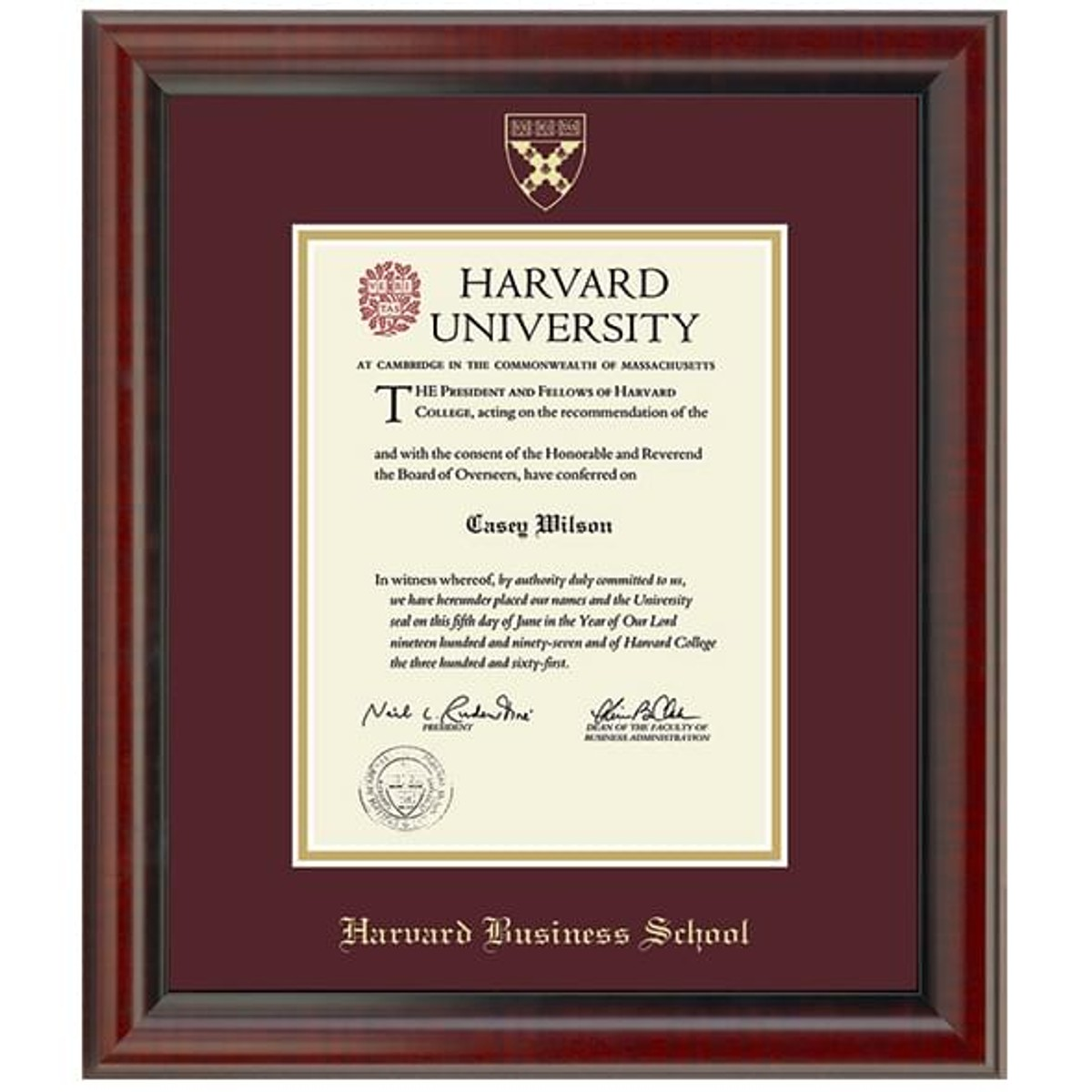 Official Harvard Business School Diploma Frame The