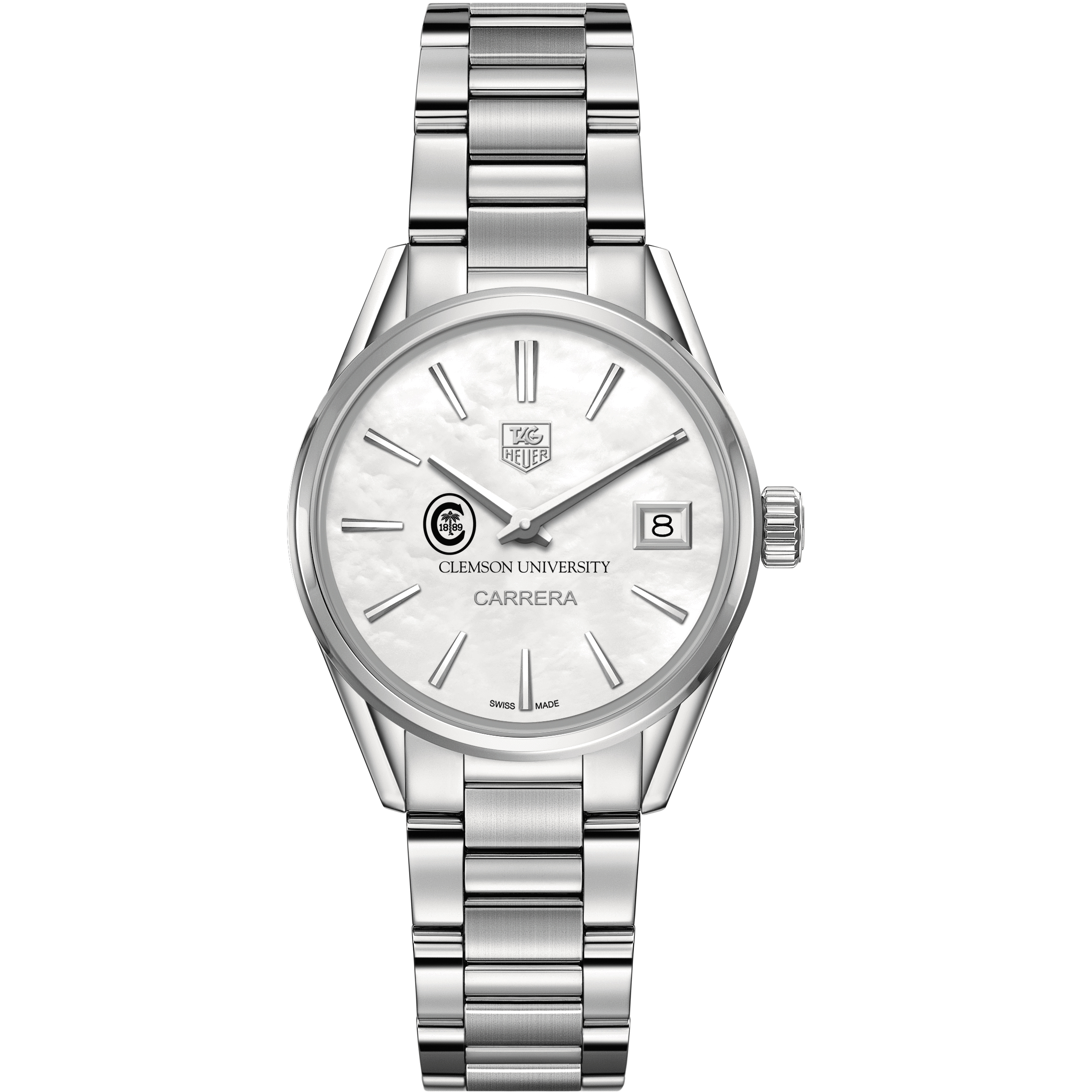 Clemson Women's TAG Heuer Steel Carrera with MOP Dial - Image 2