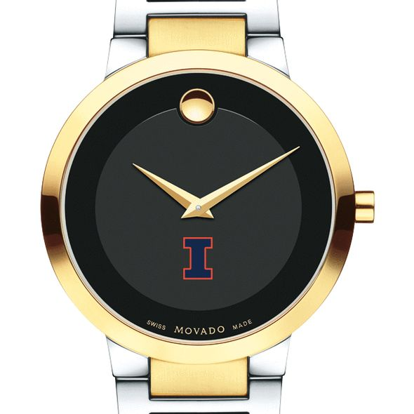 University of Illinois Men's Movado Two-Tone Modern Classic Museum with Bracelet