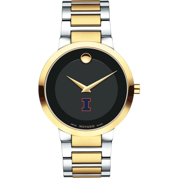 University of Illinois Men's Movado Two-Tone Modern Classic Museum with Bracelet - Image 2