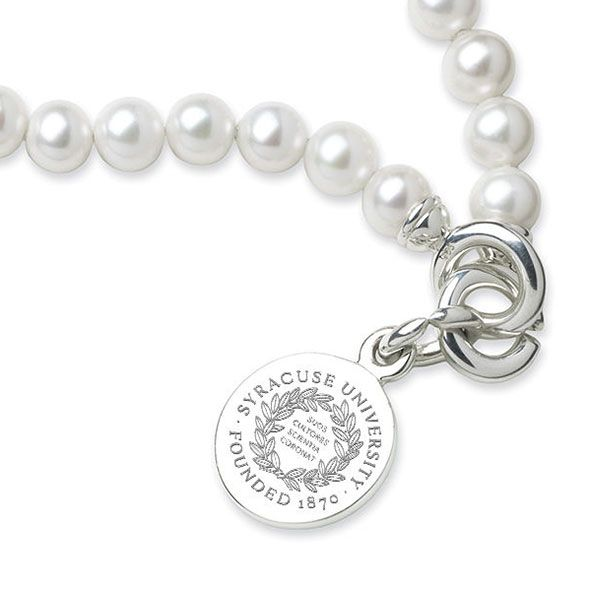 Syracuse University Pearl Bracelet with Sterling Silver Charm - Image 2