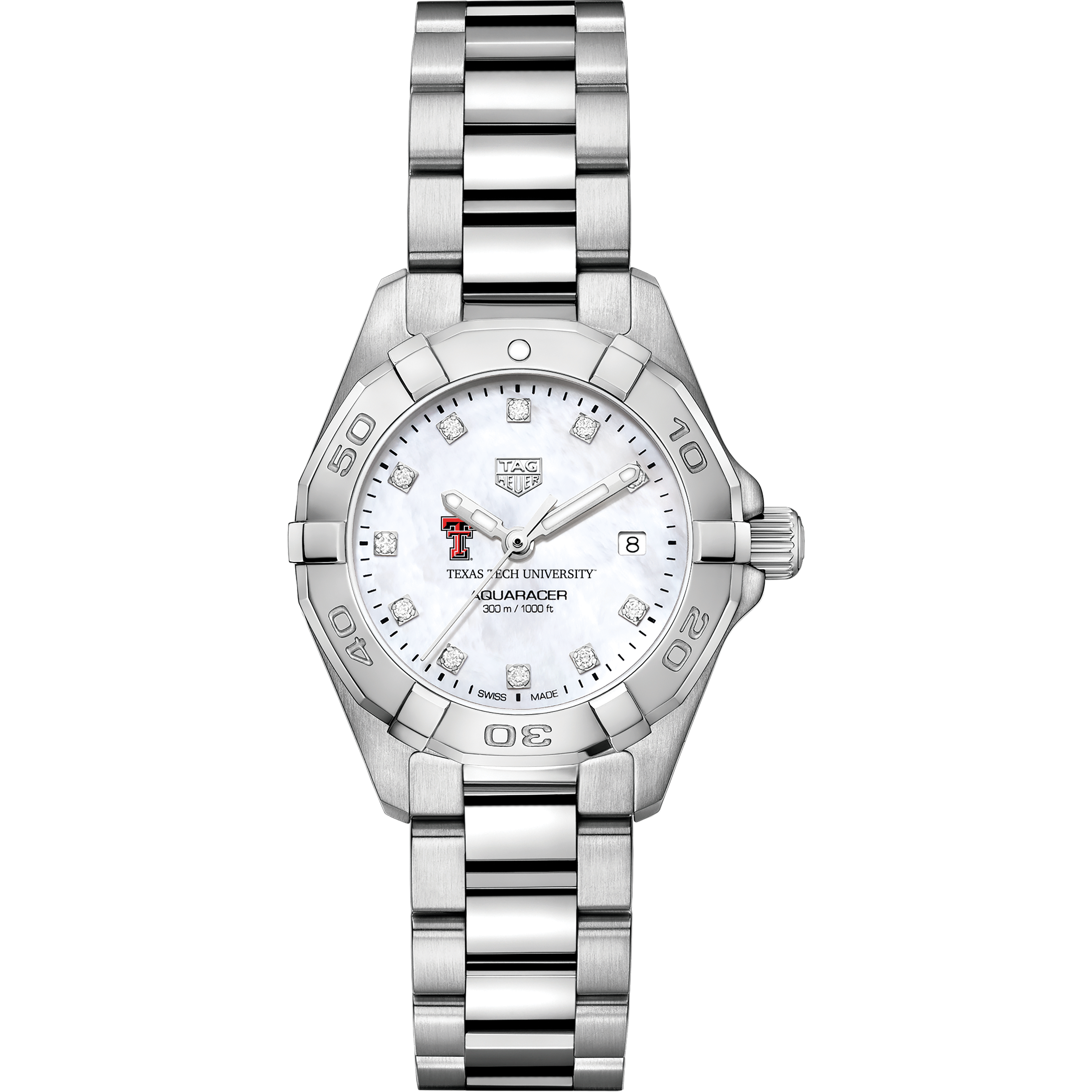 Texas Tech Women's TAG Heuer Steel Aquaracer with MOP Diamond Dial - Image 2