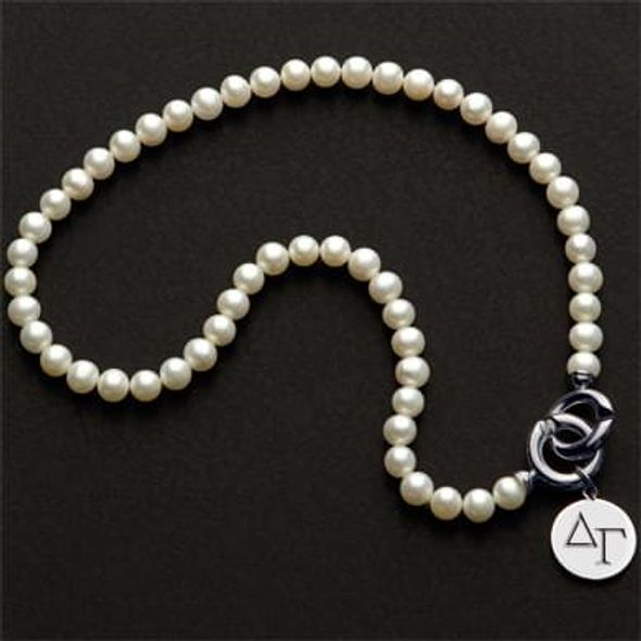 Delta Gamma Pearl Necklace with Sterling Silver Charm - Image 1
