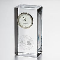 Michigan State University Tall Glass Desk Clock by Simon Pearce