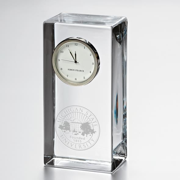 Michigan State Tall Glass Desk Clock by Simon Pearce
