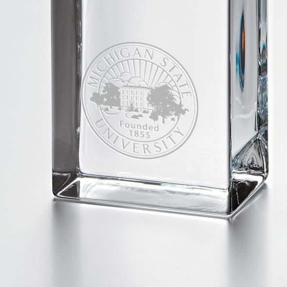 Michigan State University Tall Glass Desk Clock by Simon Pearce - Image 2