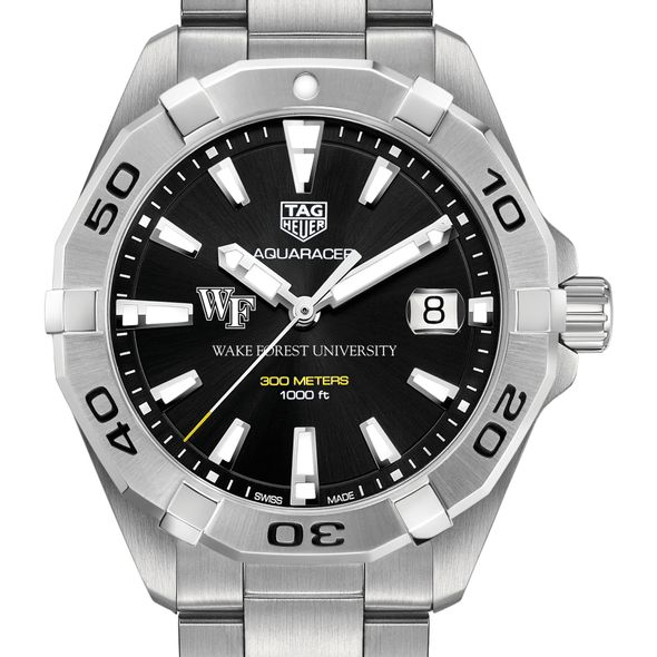 Wake Forest University Men's TAG Heuer Steel Aquaracer with Black Dial - Image 1