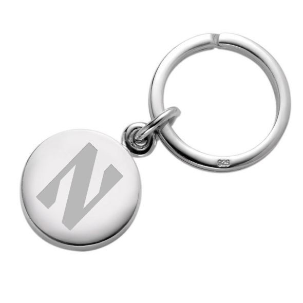 Northwestern Sterling Silver Insignia Key Ring