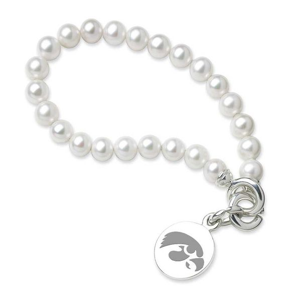 University of Iowa Pearl Bracelet with Sterling Silver Charm