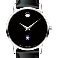 Northwestern University Women's Movado Museum with Leather Strap