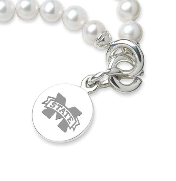 Mississippi State Pearl Bracelet with Sterling Silver Charm - Image 2