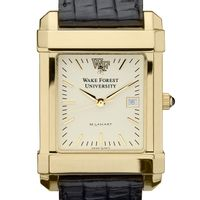 Wake Forest Men's Gold Quad Watch with Leather Strap