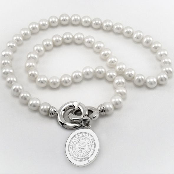 Auburn Pearl Necklace with Sterling Silver Charm