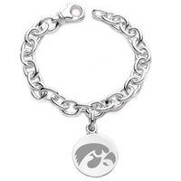 University of Iowa Sterling Silver Charm Bracelet