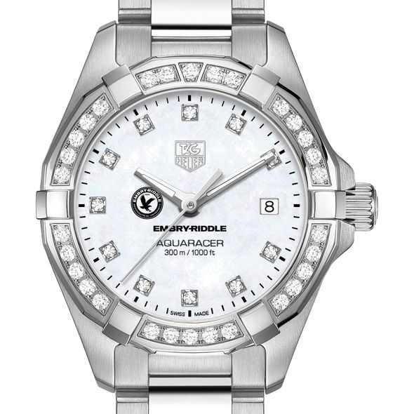 Embry-Riddle W's TAG Heuer Steel Aquaracer with MOP Dia Dial & Bezel
