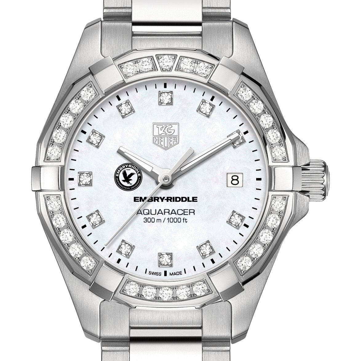 Embry-Riddle W's TAG Heuer Steel Aquaracer with MOP Dia Dial & Bezel - Image 1