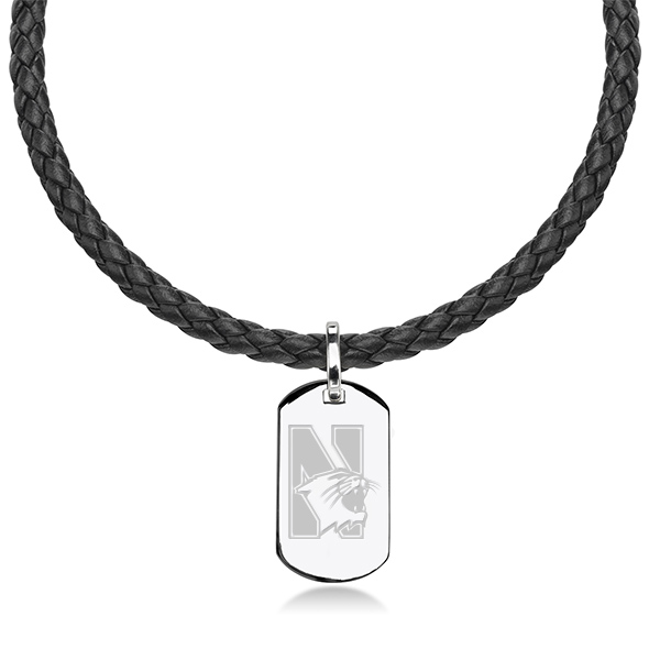 Northwestern University Leather Necklace with Sterling Dog Tag