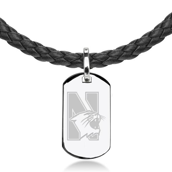 Northwestern University Leather Necklace with Sterling Dog Tag - Image 2