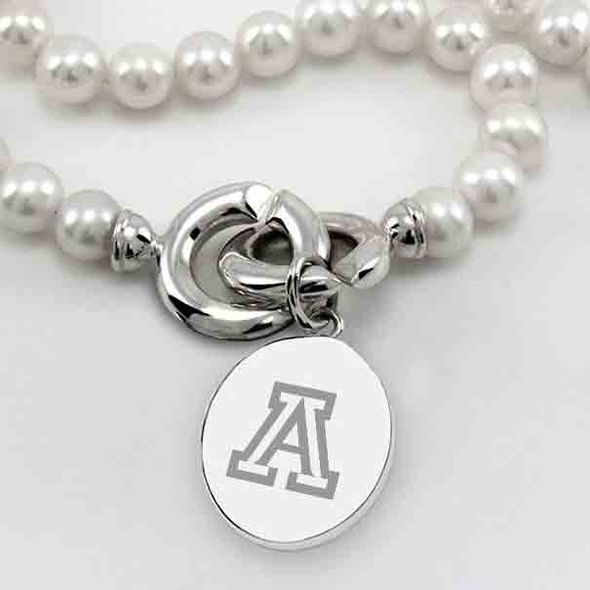 University of Arizona Pearl Necklace with Sterling Silver Charm - Image 2