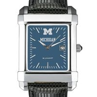 Michigan Men's Blue Quad Watch with Leather Strap