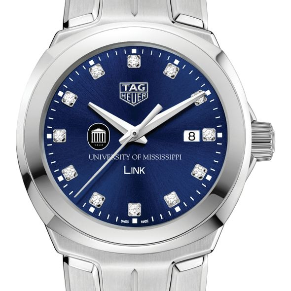 University of Mississippi Women's TAG Heuer Link with Blue Diamond Dial