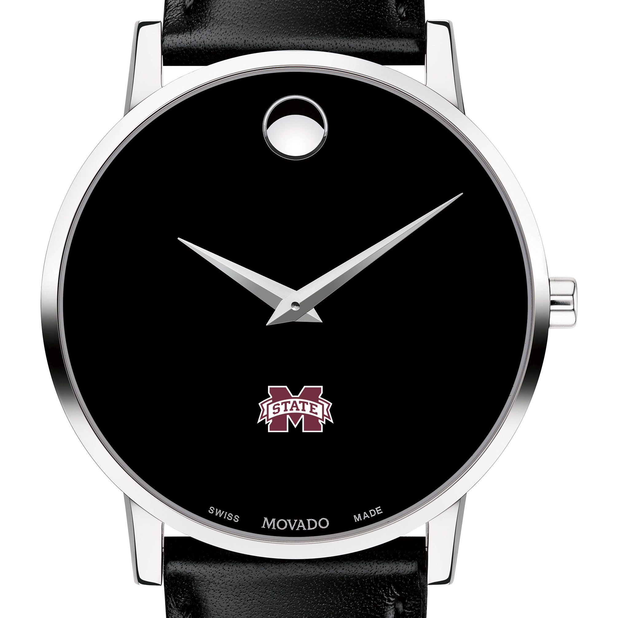 Mississippi State Men's Movado Museum with Leather Strap