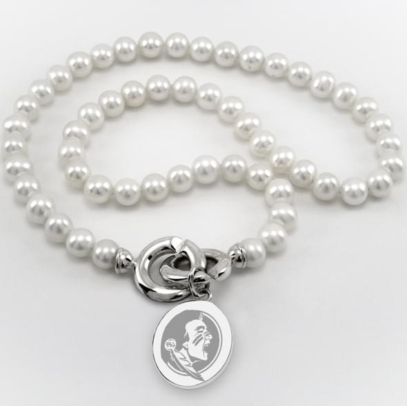Florida State Pearl Necklace with Sterling Silver Charm
