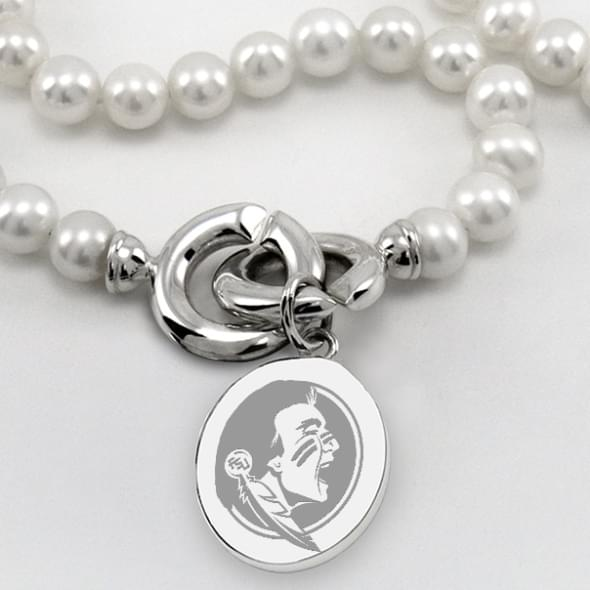 Florida State Pearl Necklace with Sterling Silver Charm - Image 2
