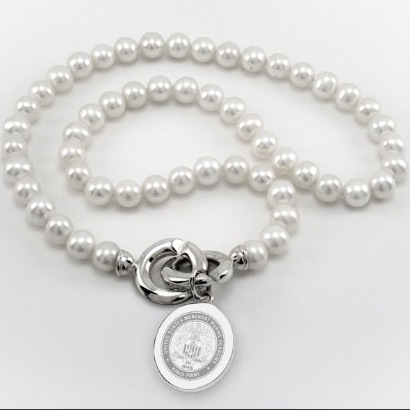 Merchant Marine Academy Pearl Necklace with Sterling Silver Charm - Image 1