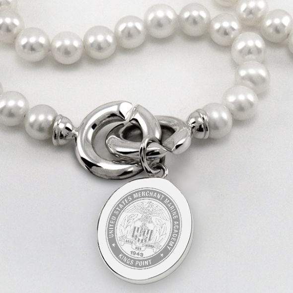 Merchant Marine Academy Pearl Necklace with Sterling Silver Charm - Image 2
