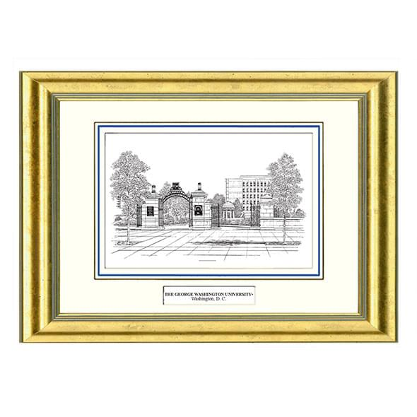 George Washington Black Ink Gold Frame - Image 1