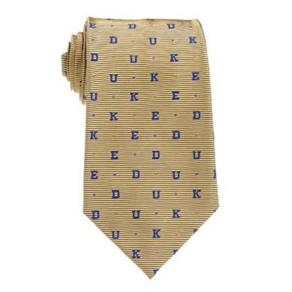 Duke University D-U-K-E Tie in Gold