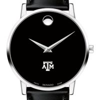 Texas A&M Men's Movado Museum with Leather Strap