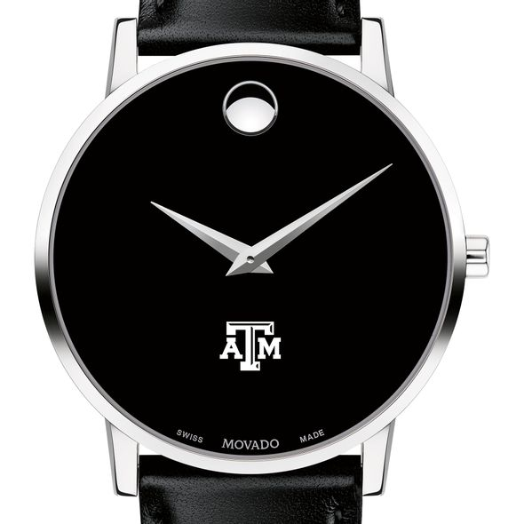 Texas A&M University Men's Movado Museum with Leather Strap